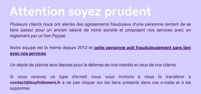 Attention soyez prudent - Arnaque aux followers